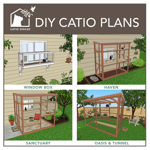4 different catio plans for a window, patio, deck or garden