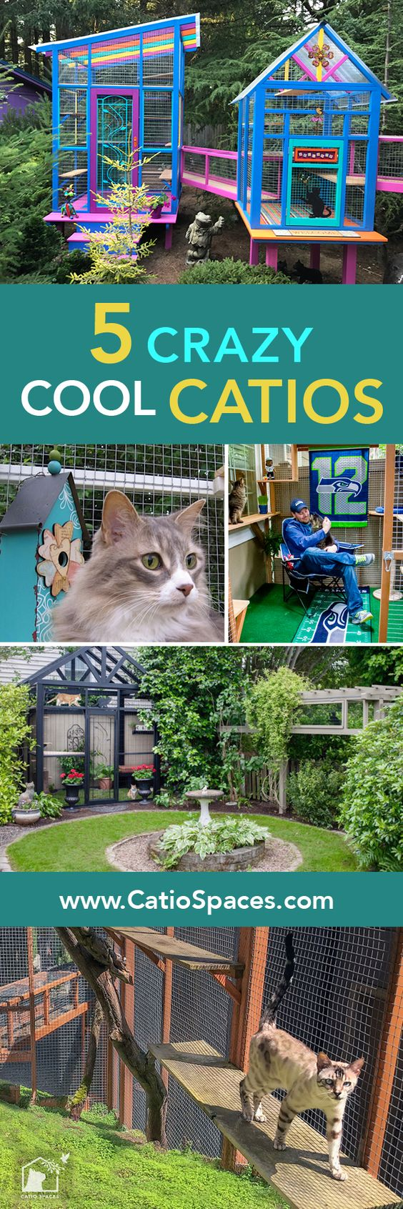 5 crazy cool catios you have to see! #catiolife #catpatio #catio #diycatpatio