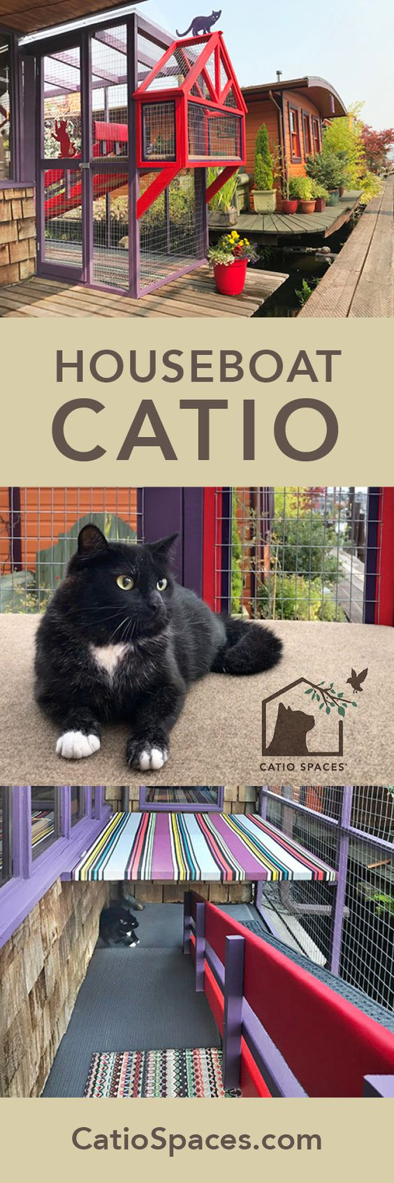 Check out this unique houseboat catio for two special needs cats. Don't miss the video! #catio #catpatio #diycatpatio #diycatio