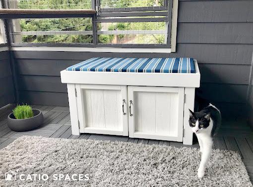 Catiospaces Cat Enclosures Catio Diy Plan Litterbox Bench 2