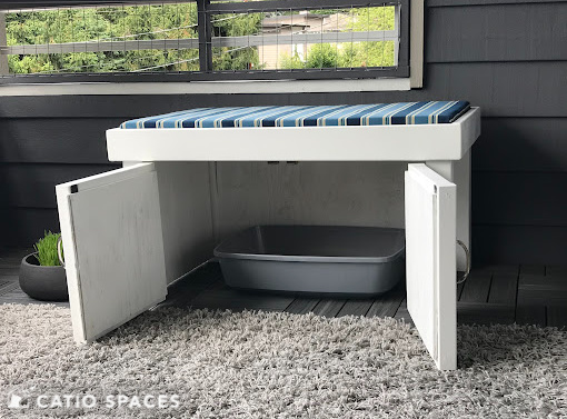 Catiospaces Cat Enclosures Catio Diy Plan Litterbox Bench 3