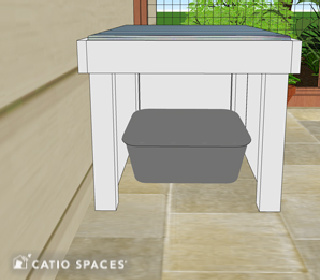 Catiospaces Cat Enclosures Diy Litter Box Bench Plan Side View Closed