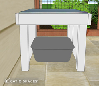 Catiospaces Cat Enclosures Diy Litter Box Bench Plan Side View Opened