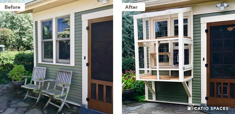 Catio Cat Enclosure 2up Before After Janey Window Condo Wm Catiospaces