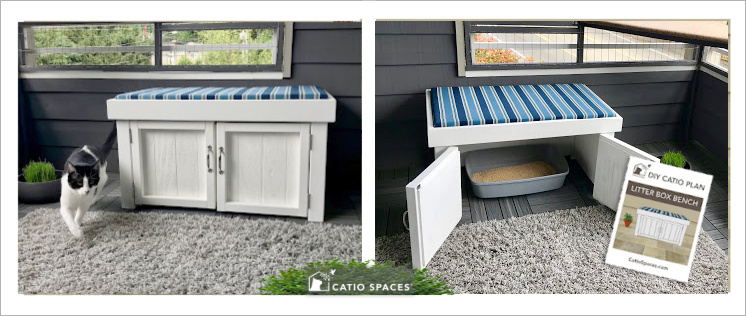 Litter Box Bench Diy Catio 2 Up Cover Final Catiospaces