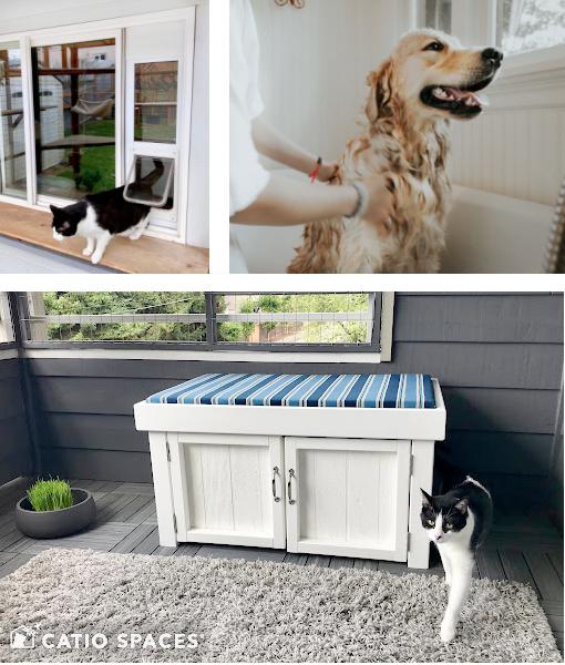 Collage Cat Door Dog Wash Litter Box.catiospaces